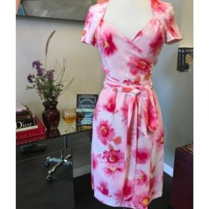 Escada Floral Silk Wrap Front Dress 2338-1-82319